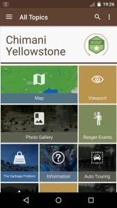 Chimani app (Yellowstone)