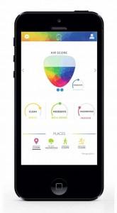 Aplicación diseñada para Breathe Up y que ofrece información de la contaminación en la ciudad