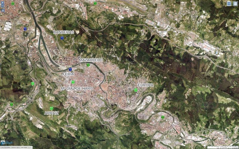 Mapa de estaciones para la medición de los índices de contaminación en Bilbao