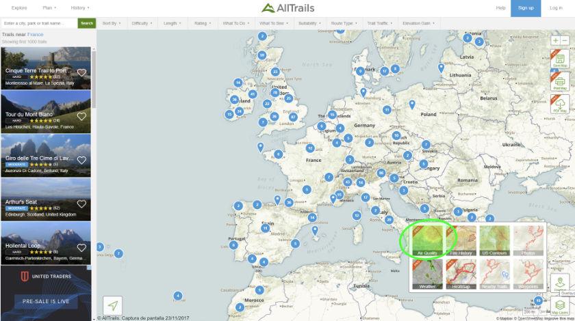 Breezometer y AllTrails colaboran para ofrecer información sobre contaminación del aire en los espacios naturales