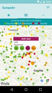 EuropeAir, an air quality app to inform you about air pollution