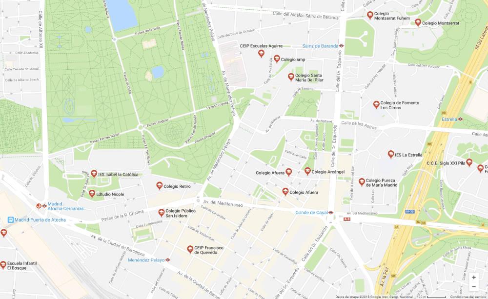 Colegios localizados en un área de Madrid para un ejemplo práctico con Breezometer